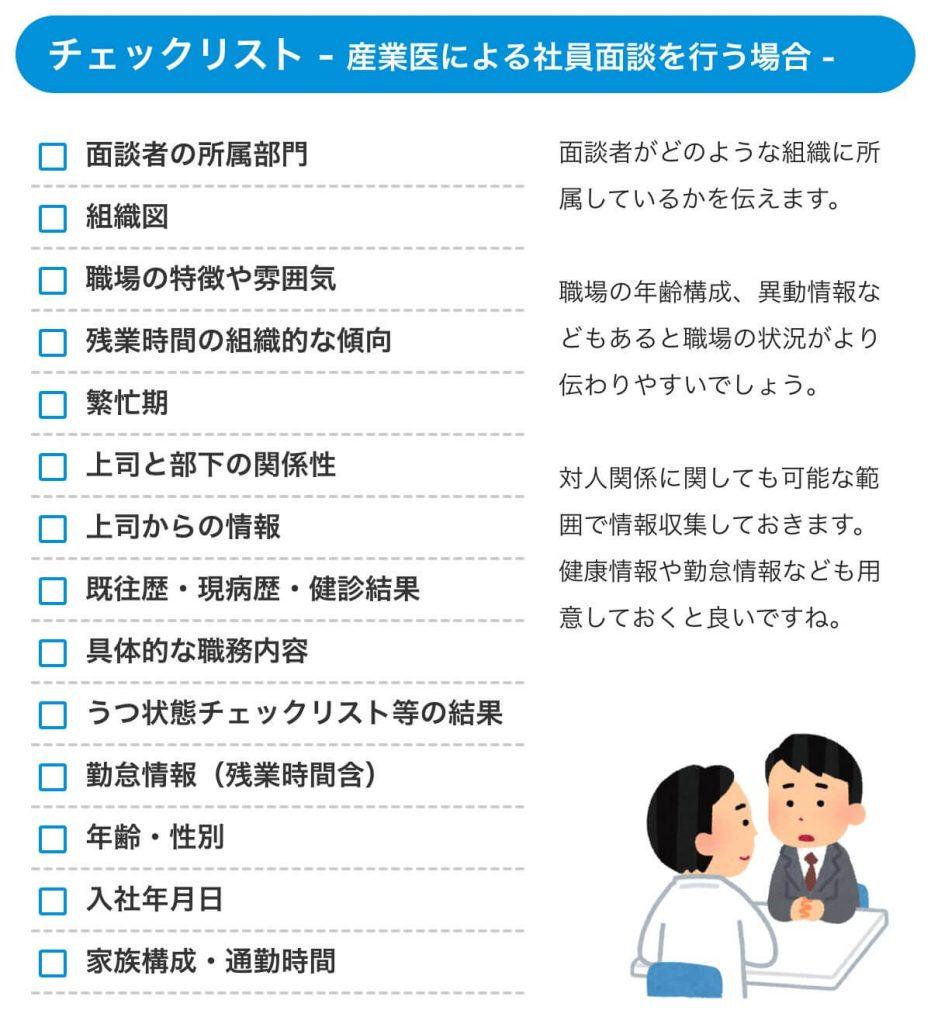 チェックリスト【産業医による社員面談をおこなう場合】