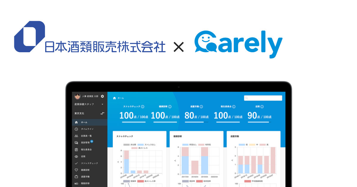 酒類専業卸で売上高全国1位の日本酒類販売株式会社、Carelyで手厚い予防措置のDX化を実現へ